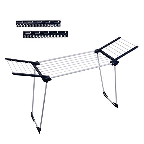 (Drynatural Laundry Drying Rack Suitable for Bathtub, Foldable, Steel, Portable Clothes Drying Rack with Gullwing for Flat Drying )
