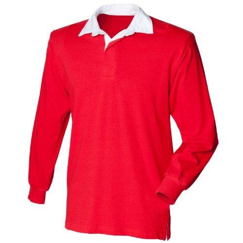 Front Row Big Boys' Long Sleeve Plain Rugby Shirt Red XL (Red Long Sleeve Rugby Shirt With White Collar)