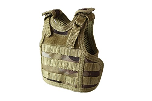 Tan Beverage (Tactical Premium Beer Military Molle Mini Miniature Vests Beverage Cooler for 12oz or 16oz beverages cans AND bottles - adjustable shoulder straps - Tan Multicam)