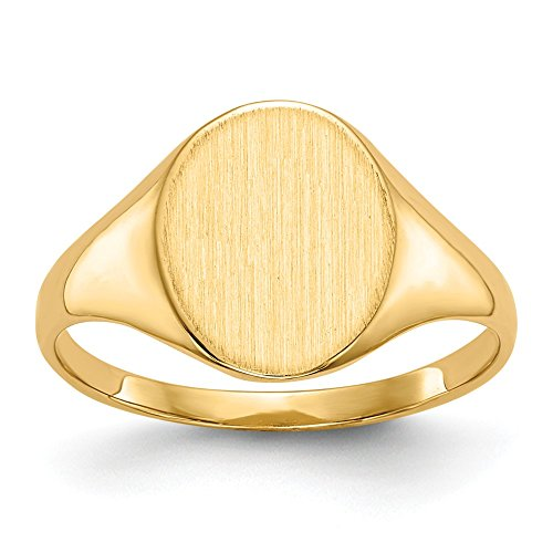 Size - 6.25 - Solid 14k Yellow Gold Signet Engravable Plate Ring (2 to 10mm)