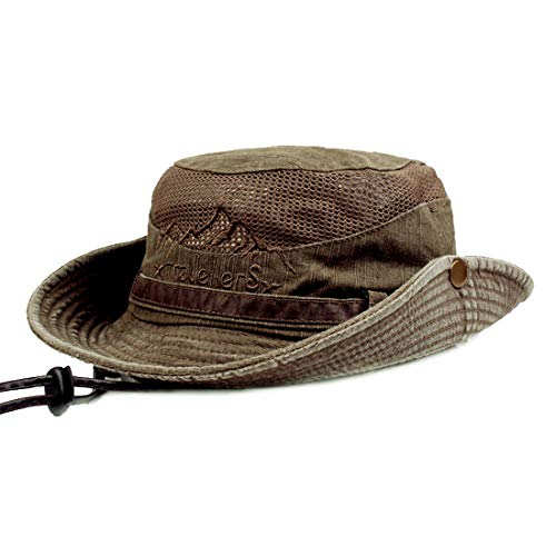 Leather Bucket Hat - KeepSa Sun Hat for Men, Cotton Embroidery Summer Outdoor Sun Protection Wide Brim Bucket Hat Foldable Safari Boonie Hat Coffee Brown