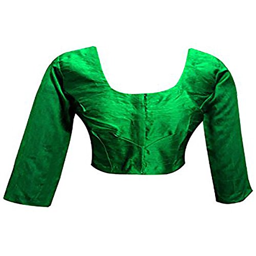 (Plain Raw Silk Ready-made Blouse Ideal Best Match for Saree Sari Lehenga Choli Crop Top by ETHNIC EMPORIUM (XL, Green))
