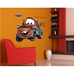 "35"" Giant Disney Mater Pixar Lightning Car All Roads Lead to Rome Vintage Cars Wall Stickers Cute Kids Home Decors Mural Art Nursery Playroom Adhesive Removable"