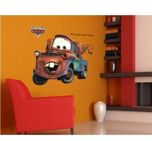 """35"""" Giant Disney Mater Pixar Lightning Car All Roads Lead to Rome Vintage Cars Wall Stickers Cute Kids Home Decors Mural Art Nursery Playroom Adhesive Removable"""