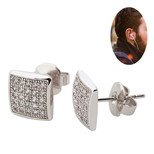 Hypoallergenic Big Mens Black Square Earring Studs Big Kite Silver Diamond Ear Studs for Cool Male Guys CZ 18k Gold Plated Jewelry for Sensitive Ears