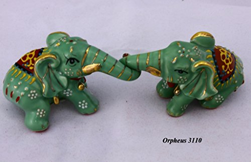 Elephant Porcelain (Feng Shui Elephants-hand Crafted and Decorated Chinese Porcelain,figurine 20620 (Green))