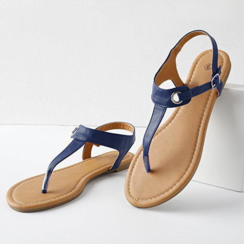 d6c33528809 Rekayla Flat Thong Sandals with T-Strap and Adjustable Ankle Buckle for  Women