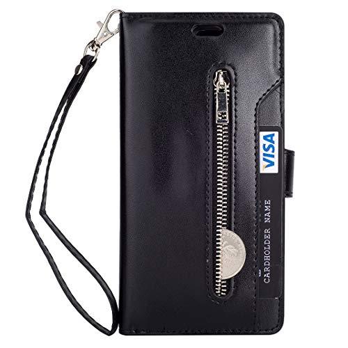En Porte Pochette Etui Emplacements Pour Marron Magnétique Noir Porte anti Pu Portefeuille Coque rfid cartes 10 Meganstore Housse Cartes Avec Huawei P20 monnaie Cuir wYSBa