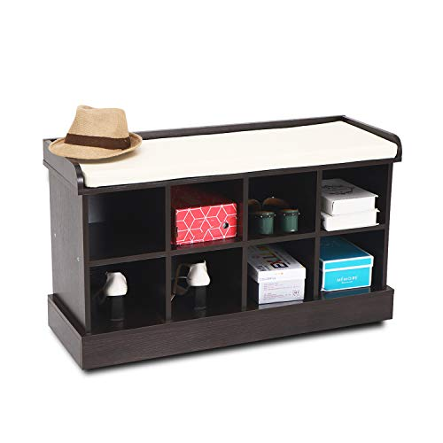 Wood Entryway Hall Shoe Cabinets Bench with 8 Cubbies Storage Organizer with Fireproof Cushion Brown ()
