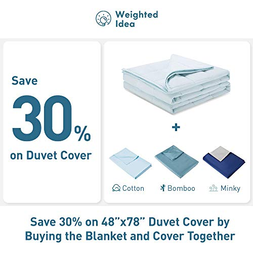 Weighted Idea Cool Weighted Blanket 15 lbs (48''x78'', 100% Natural Cotton, Baby Blue)