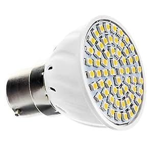 B22 4.5W 60x3528SMD 240LM 3000-3500K Warm White Light LED Spot Bulb (220-240V)