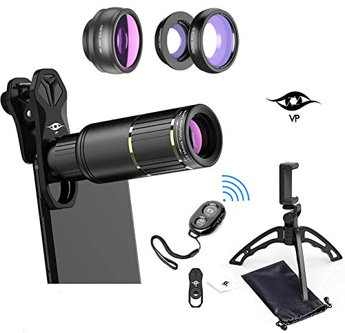 ViewPoint Phone Camera Lens Phone Lens Kit [Upgraded 2019] 16X Zoom Lens Telescope Telephoto - Wide Angle - Macro - Fisheye - Clip On Lenses for iPhone - Samsung - Pixel - Android - Bluetooth Remote