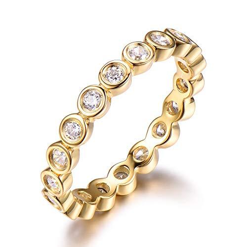 Full Eternity CZ Diamond Wedding Ring Band Solid 14k Yellow Gold Bezel Set Stacking Matching Engagement