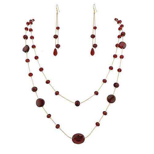 FIRSTMEET Long Fashion Handmade Scatter Beaded Chain Necklace (XL-1021-red) ()
