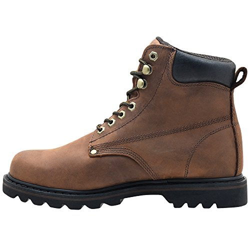 Men's EVER Leather Grain Work Boots Soft Rubber Sole Darkbrown