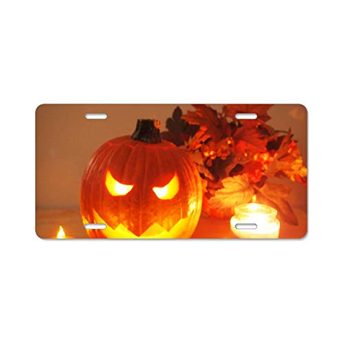 YEX Light Pumpkin Halloween License Plate Frame with 4 Holes Novelty Car Licence Plate Covers Auto Tag Holder 12