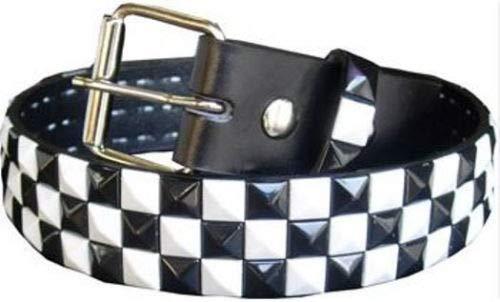 (New 3 Row Metal Pyramid Studded Leather Belt Unisex Men Women Punk Rock Goth Emo (White/Blac Studs,)