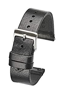 Hand Made Genuine Vintage Leather Watch Strap with Quick Release Steel Spring Bars - Black - 18mm (fits Wrist Size 6 1/4 inch to 8 inch)
