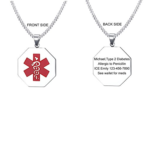 (VNOX Customize Engrave Stainless Steel Medical Alert ID Hexagonal Pendant Necklace for Men Women,Free Chain 24