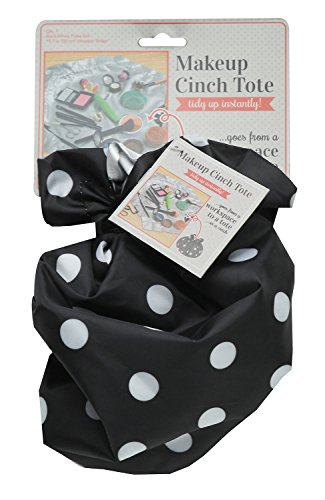 S & T Makeup Cinch Tote Polka Dot, Black