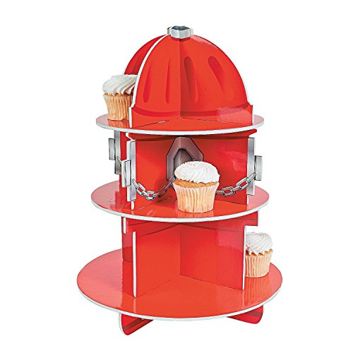 "Red Fire Hydrant Cupcake Stand Holder 3 Tier, 5 3/4"" X 11"", 1 Hydrant Per Order - Table Decorations For Firefighter, Fire Rescue Themed Birthday, Halloween, Party - By Kidsco"