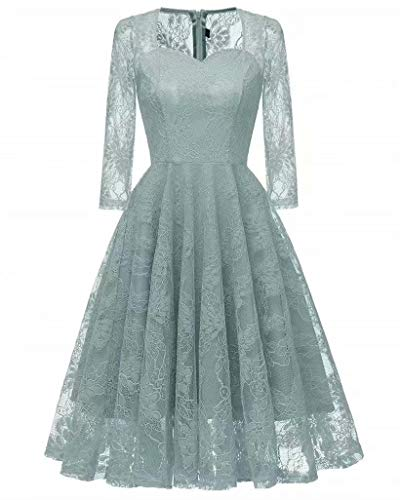 8bf18780677 EEFZL Knee Length 3 4 Sleeves Bridesmaid Dress Short Homecoming Dresses  Floral Lace Formal Prom Evening Gowns Sky Blue XX-Large