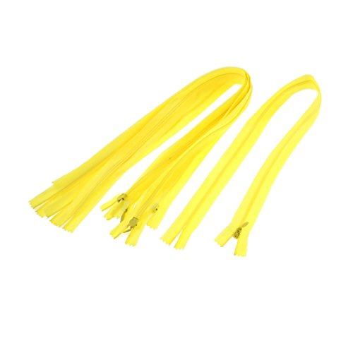 (uxcell Nylon Dress Zippers Tailor Sewing Tools 24 Inch 5 Pcs Yellow)