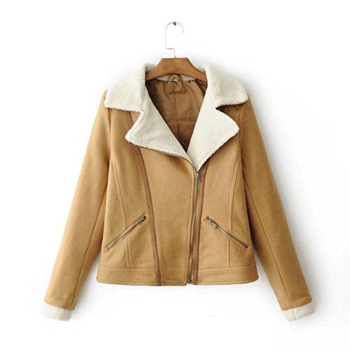 Lsm-Jacket Women's Regular Short Down Jacket Thickened Loose Cotton Coat Camel