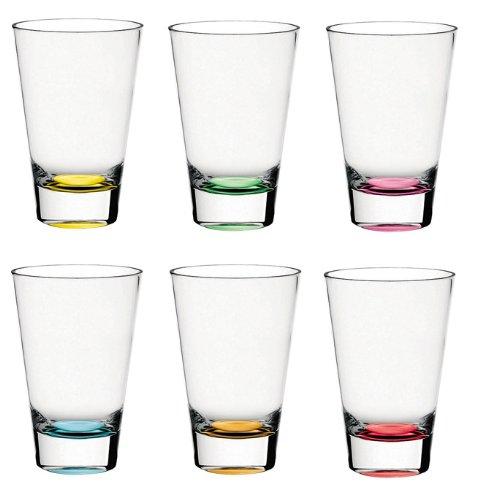 Barski - European Glass - Hiball Tumbler - Assorted Colored Bottom - 13.5 oz. - Set of 6 Highball Glasses - Made in Europe
