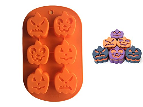 FantasyDay Halloween Pumpkin Chocolate Wafer Mold Silicone Molds for Halloween Chocolate, Muffin Cups, Ice Cube, Soap, Wafer, Cake, Bread, Tart, Pie, Flan, Pudding, Candy, Jello Shot and More #2 ()