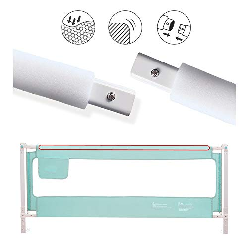 Bed Rail Snap-Splicing - Vertical Lifting Saves Space - 80CM Gold Height Fall Protection Bed Fence - 5 Height Adjustable (Green) (Size : 120CM) (Card Snap Expansion)