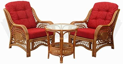 Malibu Set of 2 Natural Rattan Wicker Chairs w Red Cushions and Round Coffee Table Handmade