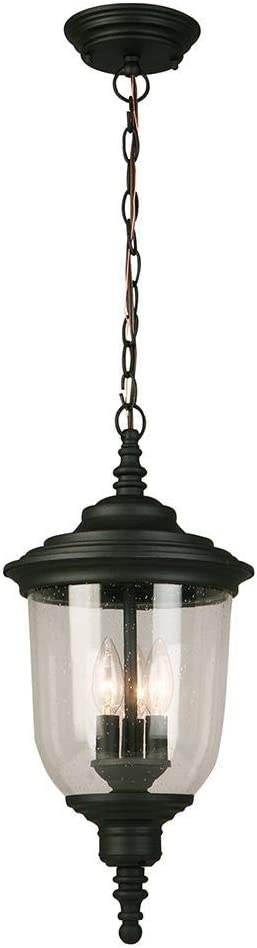 Eglo Lighting 202805a Pinedale Three Light Outdoor Pendant Matte Black Finish With Clear Seeded Glass