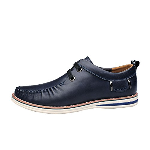 Sun Lorence Mens New Fashion Mocassini Con Stringhe Suture Manuali Scarpe Casual Sneakers In Pelle Italiana Blu