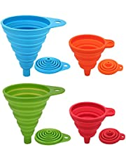 Silicone Collapsible Funnel Set 4 Pack, Maberry Portable/Flexible/Foldable Kitchen Travel Funnel for Water Bottle Oil Liquid/Powder Transfer, Food Grade FDA Approved (Small+Large)