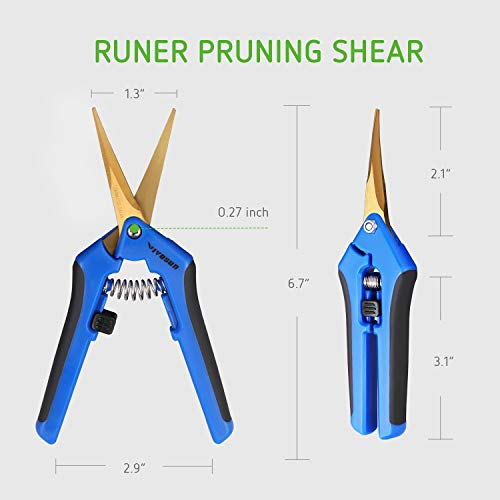 VIVOSUN Gardening Hand Pruner Pruning Shear with Titanium Coated Curved Precision Blades (2Pack Curved Blade) by VIVOSUN (Image #4)