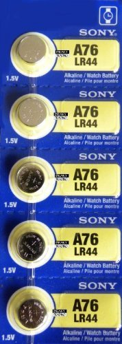 5 Pack Sony LR44 - A76 - AG13 Alkaline Button Cell Battery