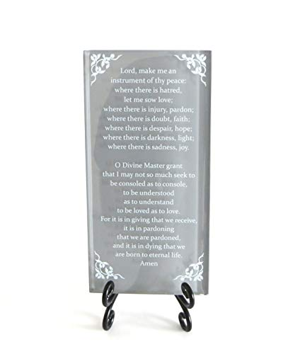 Lifeforce Glass The Prayer of St. Francis Inspirational Glass Plaque. Beloved Prayer Provides Encouragement for All. Includes Folding Easel Grey.