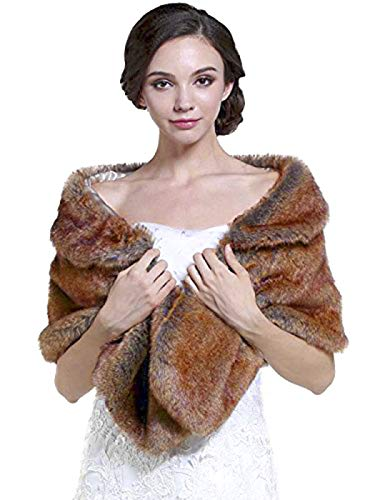 Aukmla Sleeveless Faux Fur Shawl Wedding Fur Wraps and Shawls Bridal Fur Stole for Brides and Bridesmaids (Reddish Brown) ()