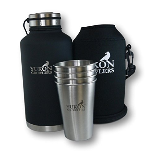 Yukon Growlers Gift Set - Vacuum-Insulated 64 oz Stainless Steel Growler with Neoprene Case and 4 Stainless Steel Pint Glasses - Keep Your Beer Cold and Carbonated for 24 Hours - New Improved Lid