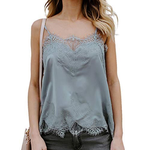 Women Summer Sleeveless Tank Tops Lace Sexy Casual T Vest Blouse Camisole -