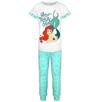 Sirenita Disney Ariel Mujer largo algodón Pijama UK de tamaños 8/10/12/