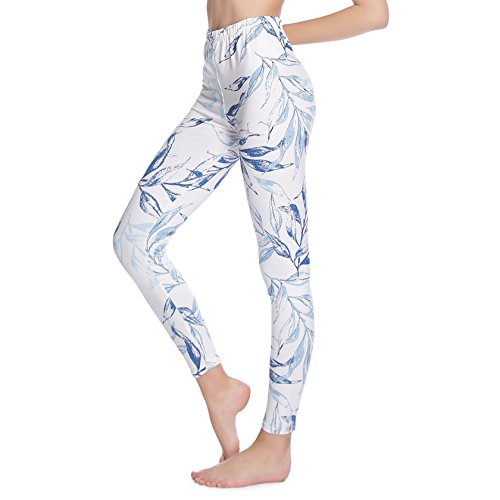 ZEALOTPOWER Print Leggings for Women Plus Size Soft with Design Floral Cute Under Pants White Leaves by ZEALOTPOWER