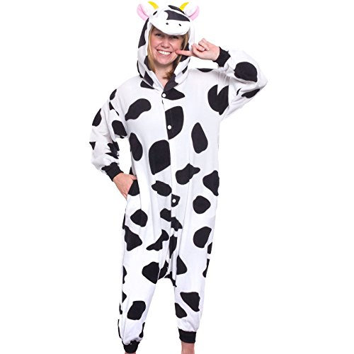 Silver Lilly Adult Pajamas - Plush One Piece Cosplay Animal Costume (Cow, XL) (Cow Costumes)