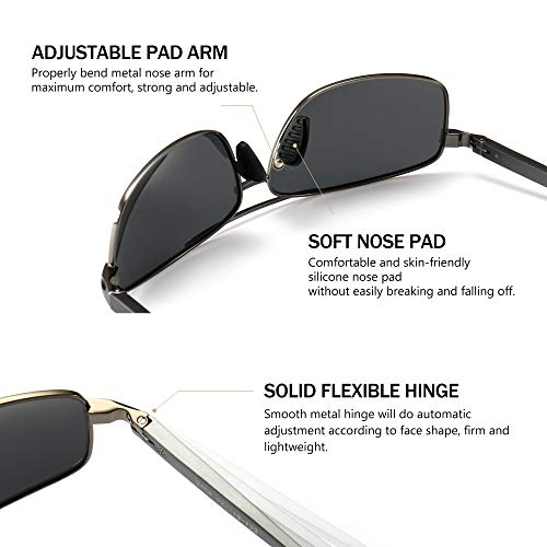 SUNGAIT Ultra Lightweight Rectangular Polarized Sunglasses UV400 Protection 4