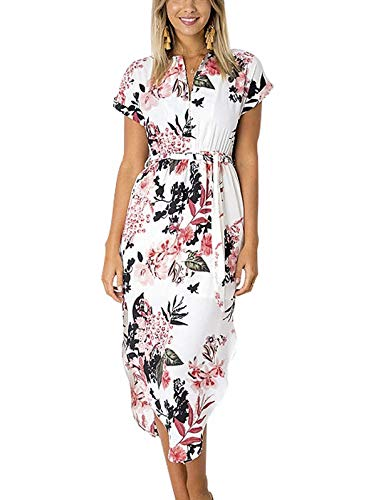 TEMOFON Womens Dresses Summer Casual Floral Geometric Pattern Short Sleeve Midi V-Neck Party Dress with Belt Flower White 2XL