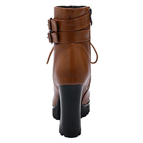 AIYOUMEI Damen Blockabsatz Reißverschluss Plateau Stiefeletten mit Schnalle Klassischer Stiefel Braun