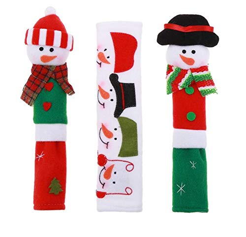 UNIKbrush 3Pcs Cute Snowman Refrigerator Handle Covers Set Practical Kitchen Appliance Microwave Oven Fridge Door Anti-Static Covers for Christmas ()