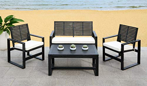 Safavieh FOX6007E Collection Ozark Black Wash 4 Pc Living Outdoor Set, Beige