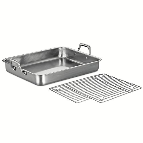 Tramontina 80203/005DS Gourmet Prima 16.5-Inch Rectangular Roasting Pan with Basting Grill, Large, Stainless Steel